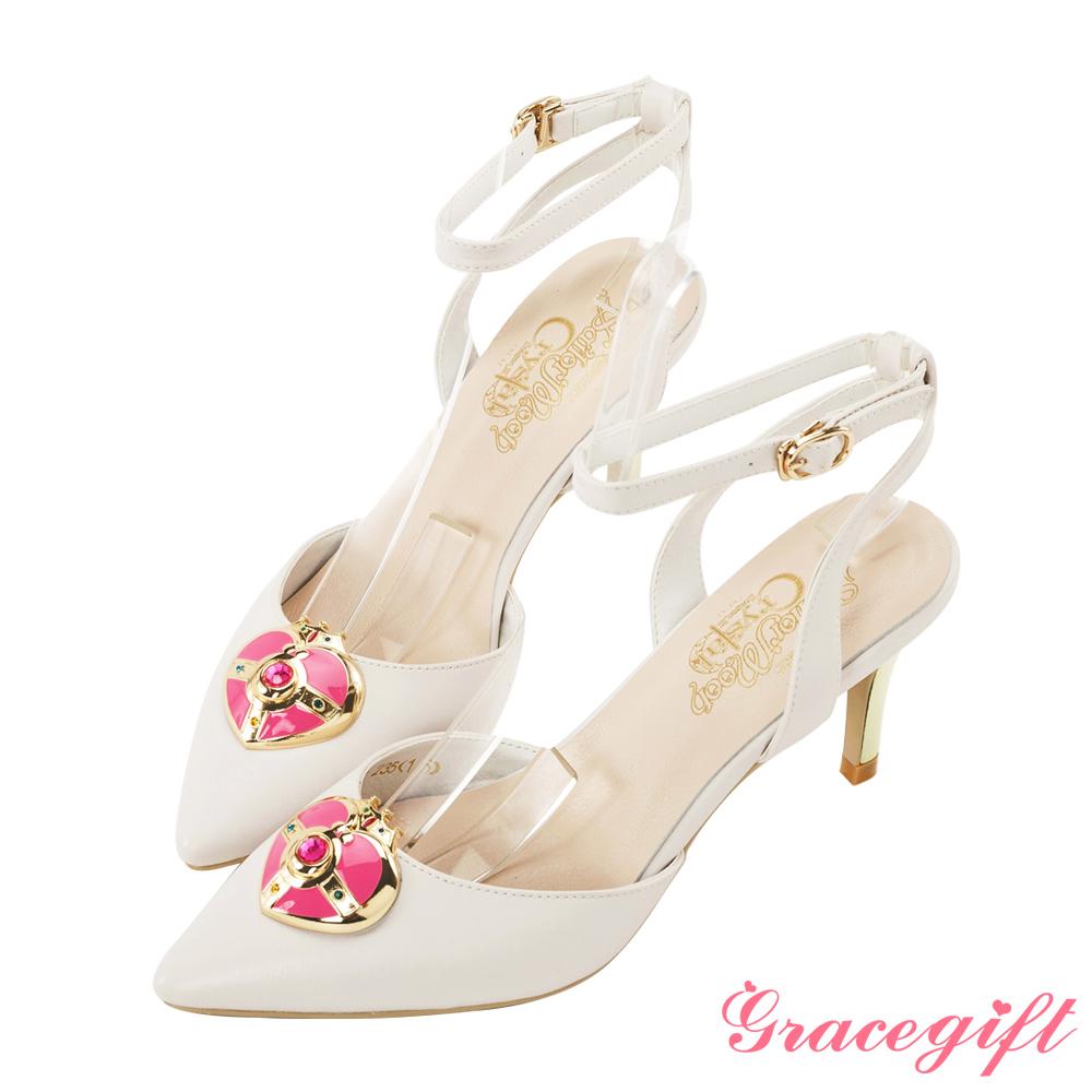 Grace gift-美少女戰士月光心鑽繫帶跟鞋 米白