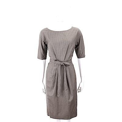 Max Mara-WEEKEND 羊毛千鳥格紋咖啡色繫帶洋裝