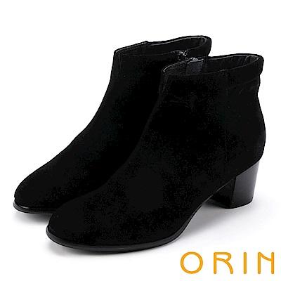 ORIN 經典儁永 素面牛麂皮粗跟踝靴-黑色