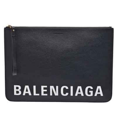 BALENCIAGA 經典品牌字母LOGO掛腕拉鍊手拿包(黑)