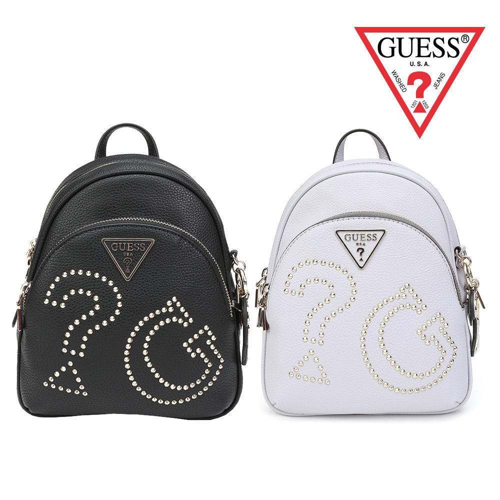 [時時樂限定] GUESS-時尚鉚釘裝飾logo後背包-兩色選