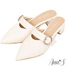 Ann'S稍顯成熟-銀扣寬帶粗跟尖頭穆勒鞋 -米