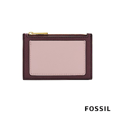FOSSIL SHELBY 真皮系列拉鍊卡片夾-暗紅色