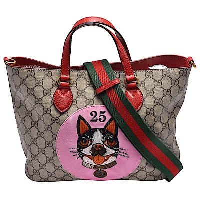 GUCCI 經典Bosco系列波士頓梗犬刺繡貼布手提/肩背拖特包