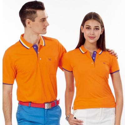 Abel Fox s Sports橘色紫邊男版短袖POLO衫-AFQ106-02