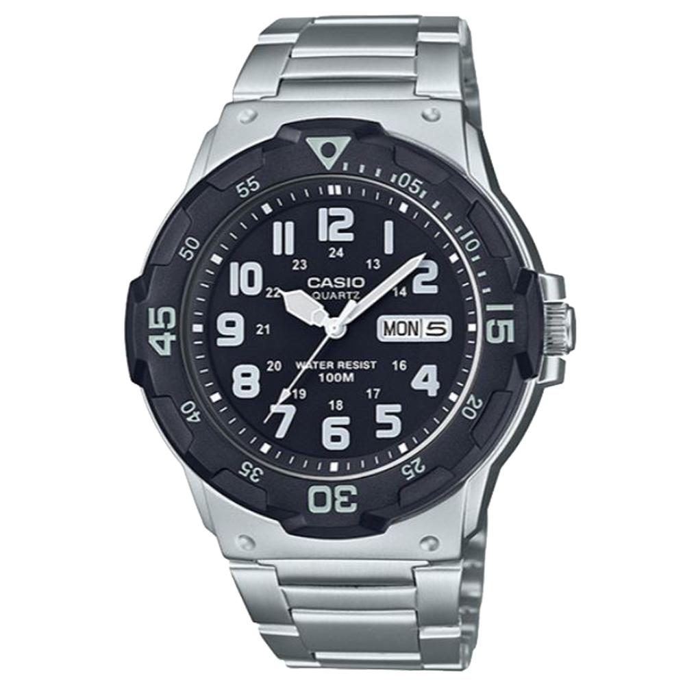 CASIO 潛水風格簡約設計日期顯示不鏽鋼錶-黑(MRW-200HD-1B)/47.9mm