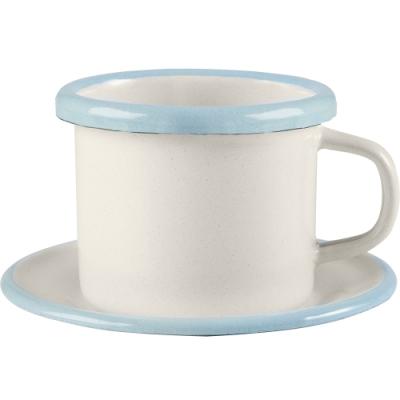 《IBILI》琺瑯濃縮咖啡杯碟組(淡藍80ml)