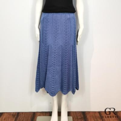 GLORY21 兔絨針織八片裙_藍