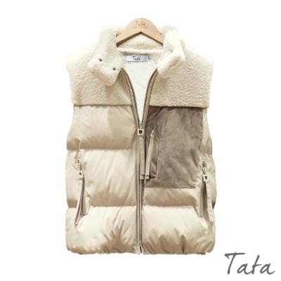 拼接麂皮口袋羊羔毛背心外套 共二色 TATA-(S~XL)