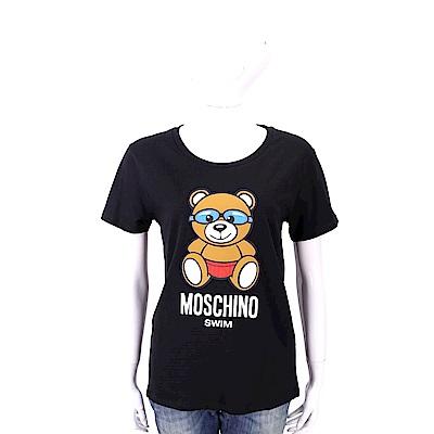 MOSCHINO Swim 泳鏡泰迪熊寶寶黑色棉質T恤(合身版)