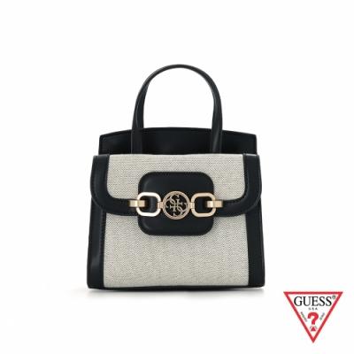 GUESS-女包-時尚異材質拼接LOGO飾扣手提包-黑 原價2490