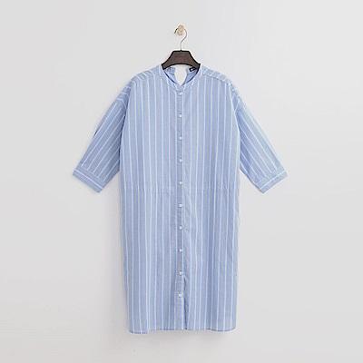 Hang Ten - 女裝 - 立領條紋襯衫洋裝 -淡藍色