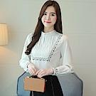 小立領打摺刺繡雪紡襯衫-S~2XL(共二色)-白色戀人