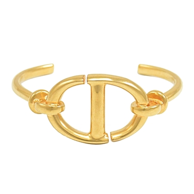 Christian Dior NAVY CD LOGO造型復古金屬手環(金)