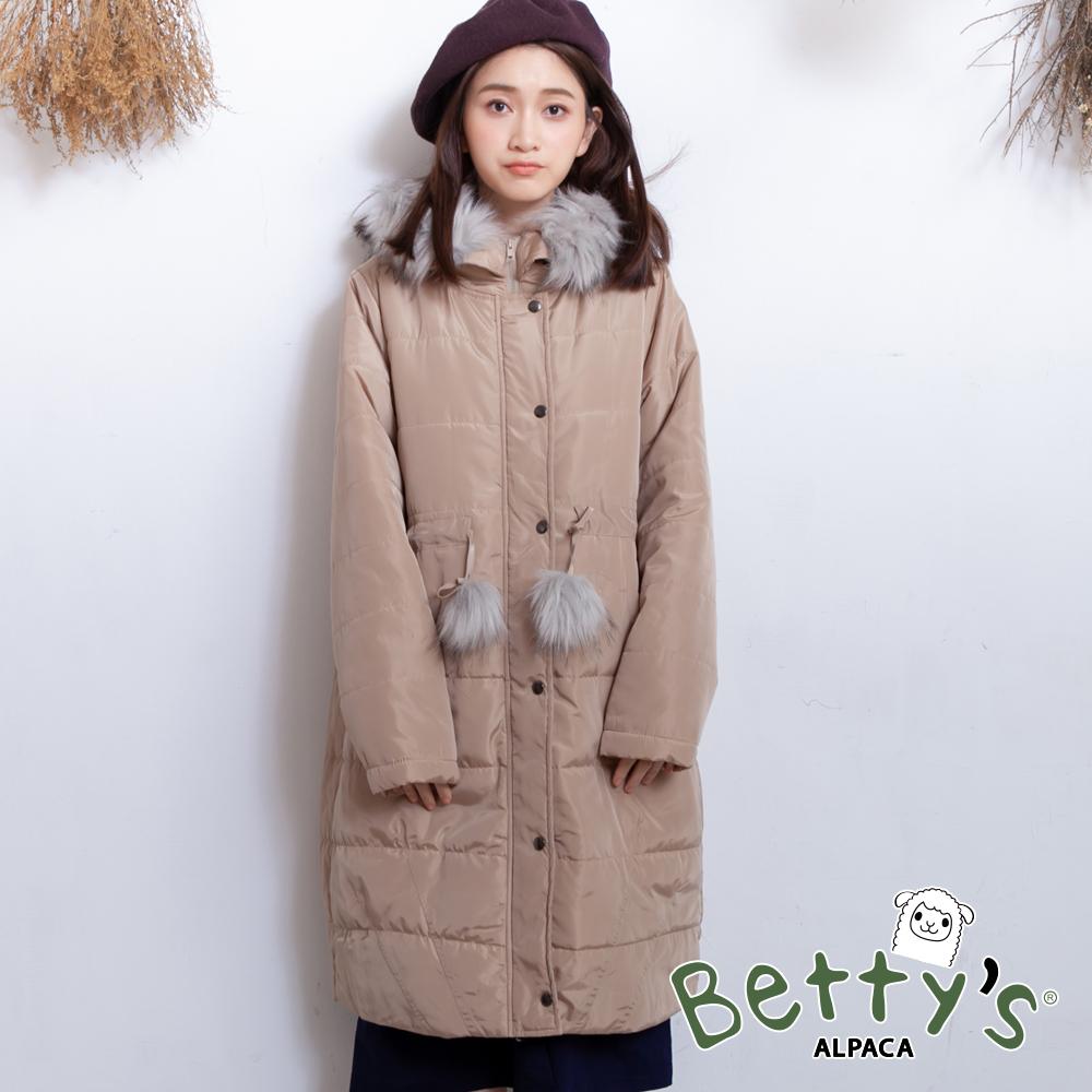 betty's貝蒂思 綁結排釦拉鍊長版鋪棉大衣(駝色)