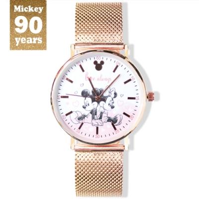 DISNEY迪士尼90周年紀念系列手錶-Love Always米奇米妮38mm玫瑰金米蘭帶