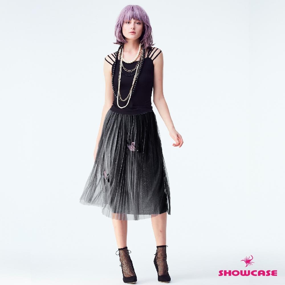 【SHOWCASE】閃亮金蔥天鵝紗網及膝裙(黑)