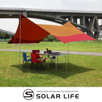 頂級遮陽防水天幕帳篷4.2x3.5m附收納袋.戶外露營野餐銀膠塗層抗UV防潮地墊車邊帳外帳