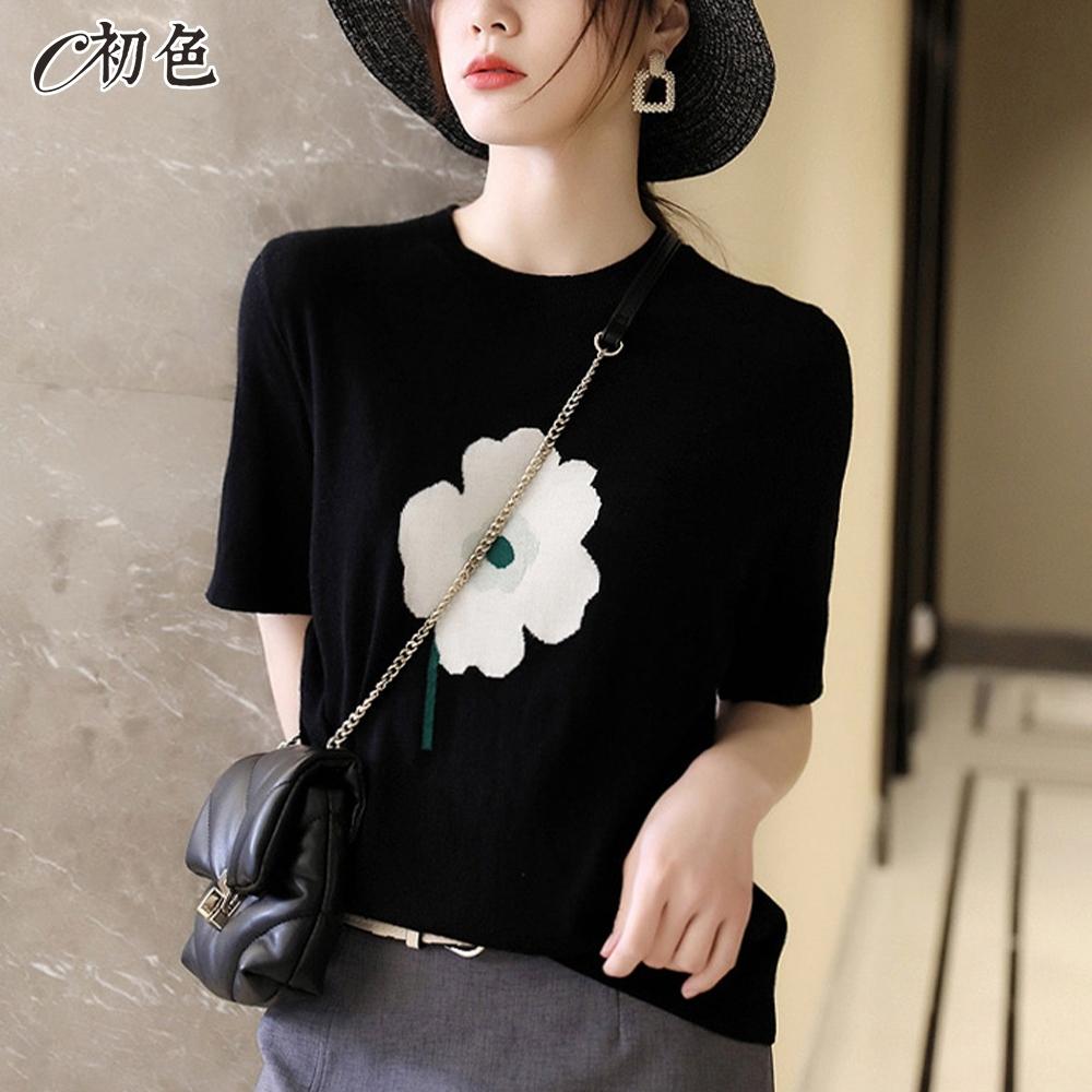 初色  花朵緹花圓領針織衫-黑色-(F可選)