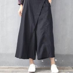 La Belleza素面腰鬆緊打摺拼接斜邊不對稱剪裁闊腿長褲寬褲裙