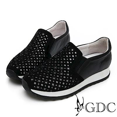 GDC-熱銷款軟底好走沖孔洞洞春夏簡約休閒鞋-黑色