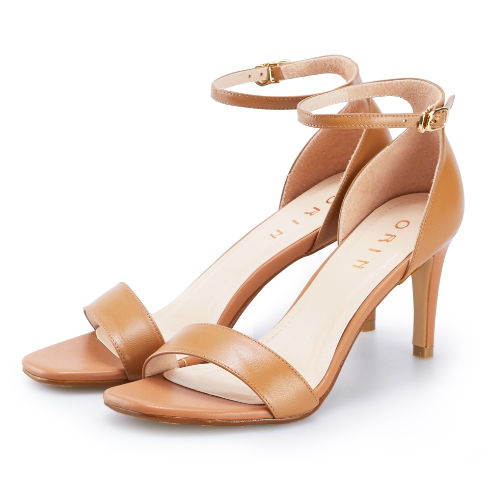 ORIN 一字繫踝繞帶後包細高跟鞋 棕色