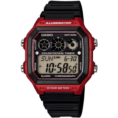 CASIO 雷神戰士個性運動電子錶-黑x紅(AE-1300WH-4A)/31mm