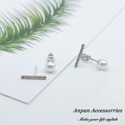 【ANPAN愛扮】韓東大門INS風前鑽後珠兩用925銀耳針式耳環