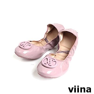 viina 經典款烤漆扣摺疊鞋MIT-淡紫色