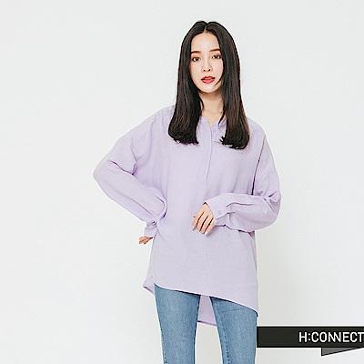 H:CONNECT 韓國品牌 女裝-半開襟純色麻料襯衫-紫