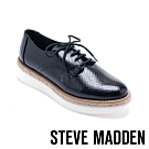 STEVE MADDEN-MONTEREY 經典英式綁帶蛇紋牛津鞋-黑色