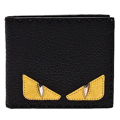 FENDI 經典BAG BUGS怪獸造型撞色荔枝紋小牛皮縫線飾邊摺疊短夾(黑)