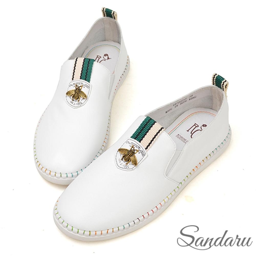 山打努SANDARU-全真皮精緻昆蟲柔軟休閒鞋-白 (白)