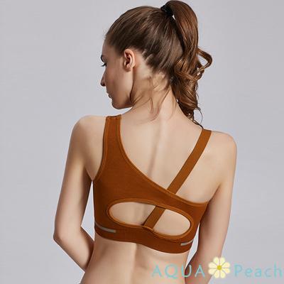 運動內衣 背挖空蝴蝶骨設計無鋼圈內衣 (共三色)-AQUA Peach