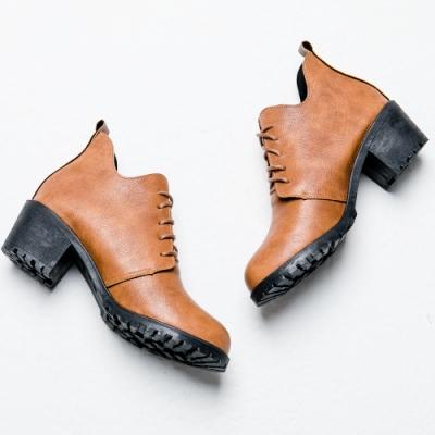 River&Moon短靴-渲染皮紋繫帶造型牛津短靴 黃棕