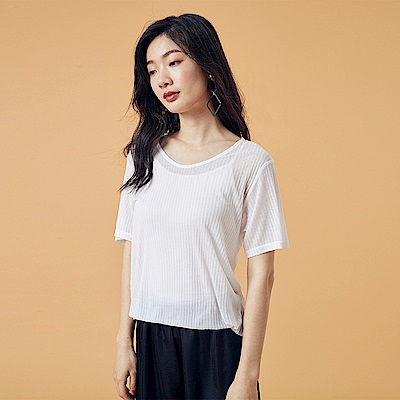 Bois White 圓領短袖透膚上衣-白/黃/綠/杏
