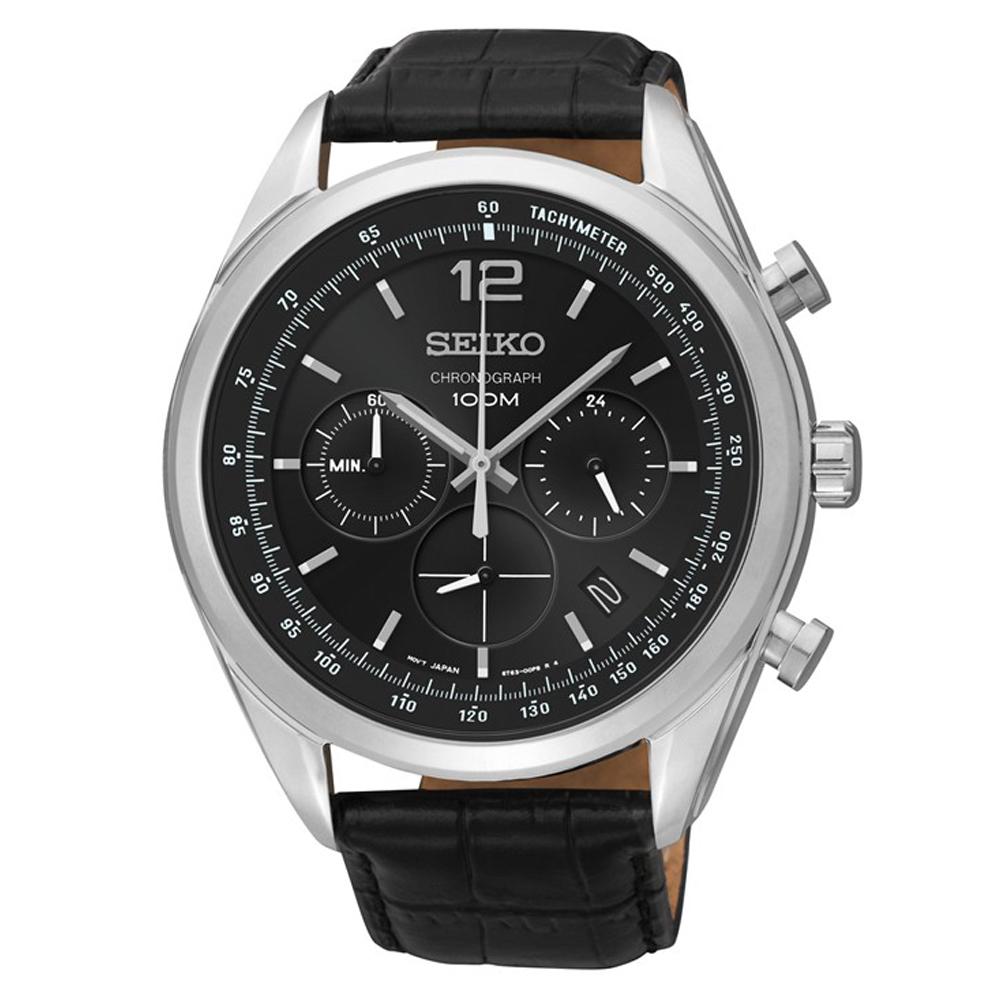 SEIKO 俊秀爾雅三眼計時視距儀石英腕錶(SSB097P1)黑-/45mm