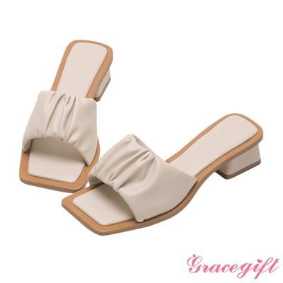 Grace gift X唐葳-聯名雲朵一字中跟涼拖鞋 米白