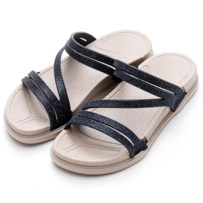 River&Moon拖鞋 線條亮片彈力厚底防水涼拖鞋 黑藍