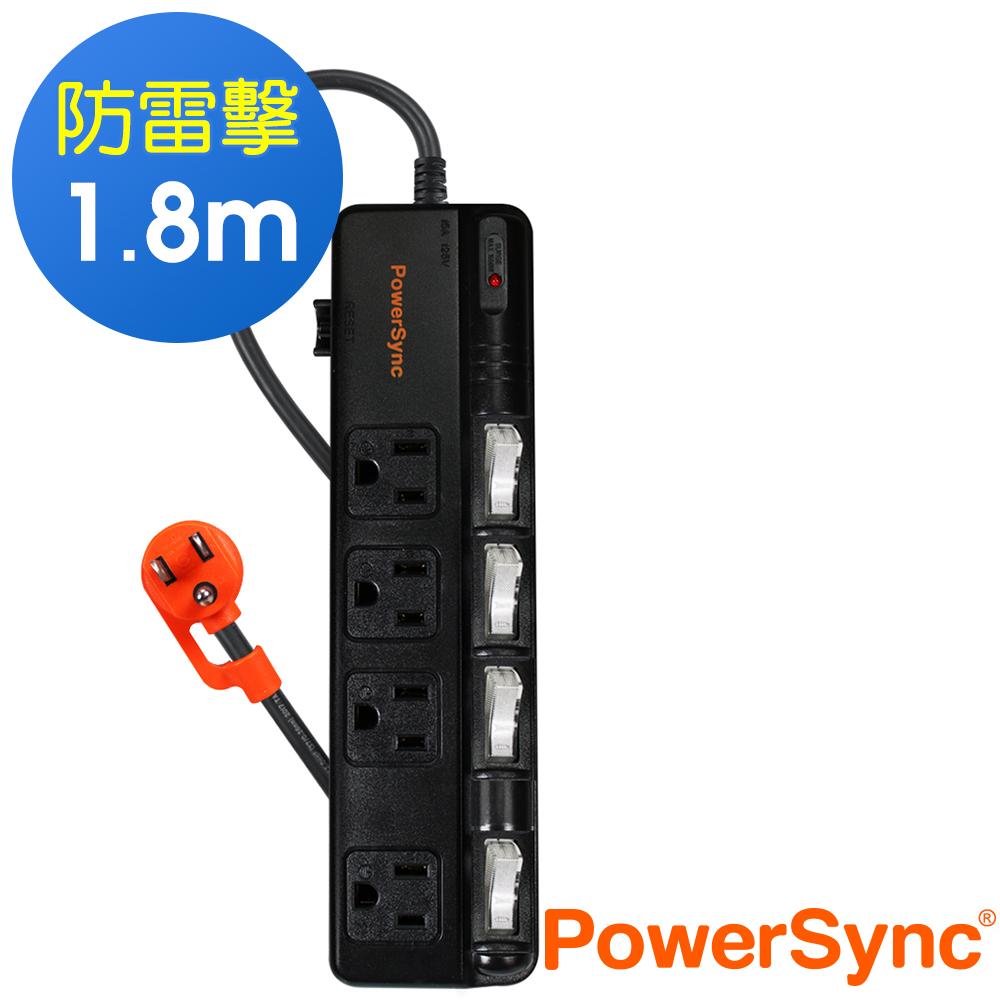 群加 PowerSync 四開四插防雷擊抗搖擺延長線/1.8m(TPS344BN0018)