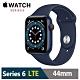 Apple Watch S6 44mm 藍色鋁金屬錶殼 海軍深藍色運動型錶帶(GPS+Cellular版) M09A3TA/A product thumbnail 1