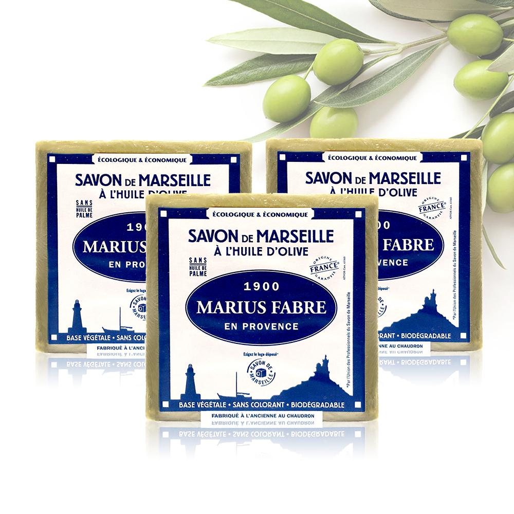 法國法鉑-橄欖油經典馬賽皂-400g/顆(3入組)
