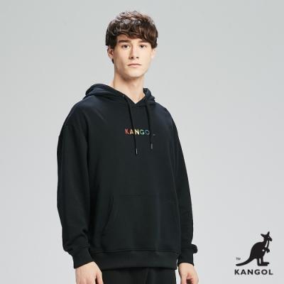 【KANGOL】Oversize彩色LOGO印花連帽上衣/帽T-男-黑