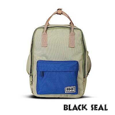 BLACK SEAL 聯名8848系列-多隔層休閒小方型後背包-綠藍BS83008