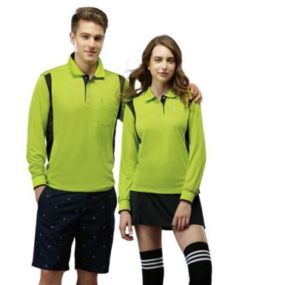 SPAR彩雲紋吸排布男版長袖POLO衫SP69411亮綠色