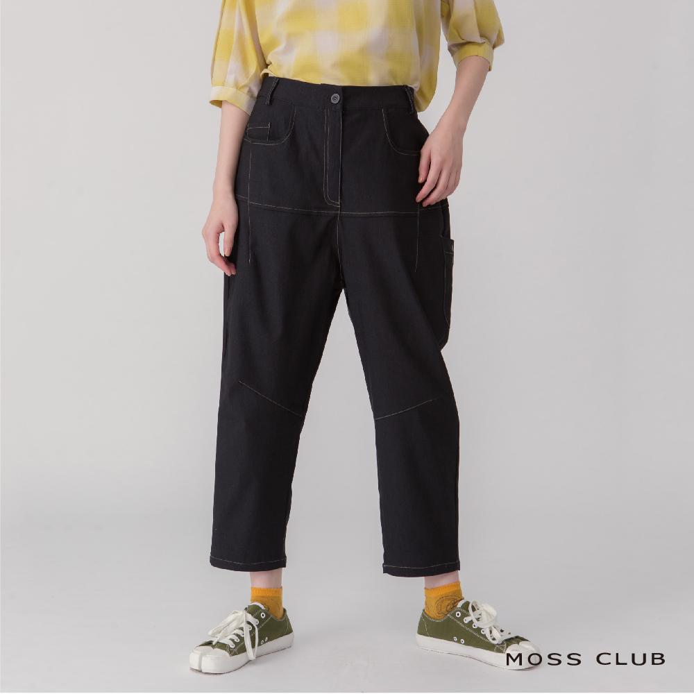 MOSS CLUB 休閒寬鬆造型-長褲(黑色)