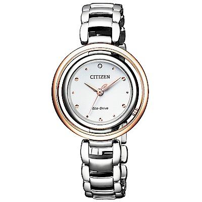 CITIZEN 星辰L光動能晶鑽珍珠貝女錶(EM0668-83A)-玫瑰金框/30mm