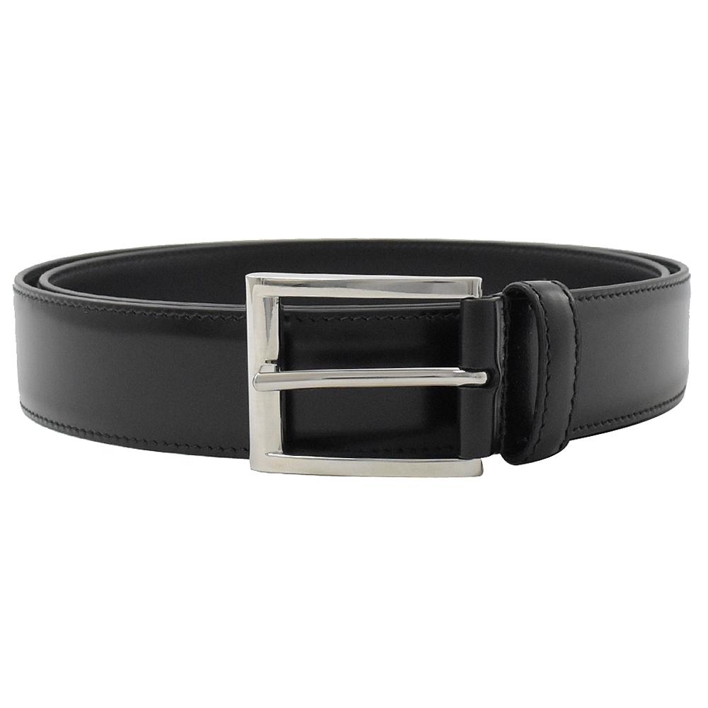 PRADA 經典ㄈ扣式滑面牛皮材質窄版經典皮帶(黑)