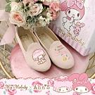 My melody X Ann'S玫瑰姊妹美樂蒂與小綿羊 不對稱內增高樂福鞋-粉杏