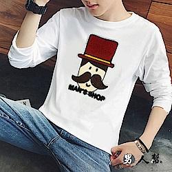 男人幫 T5691造型布標帽子先生長袖T恤情侶T